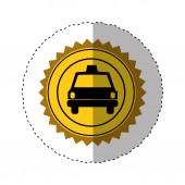sticker color of circular seal with taxi car