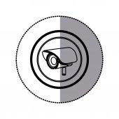 sticker of monochrome contour of exterior video security camera in circular frame
