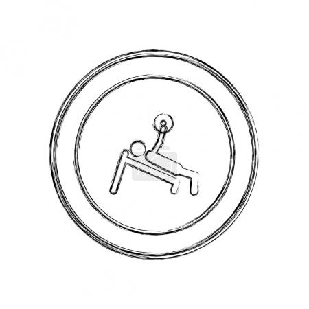 monochrome sketch of man with training weightlifting in circular frame