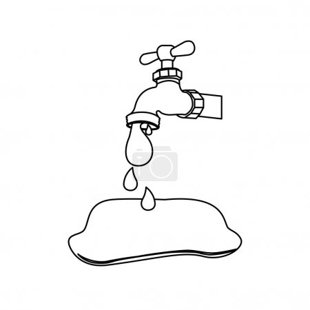 silhouette faucet pouring out water drop icon