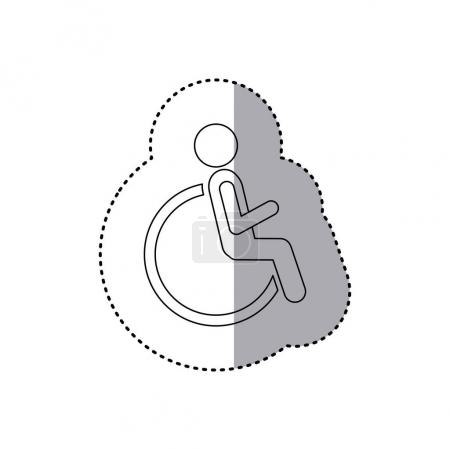sticker contour pictogram sitting in abstract reclininig wheelchair flat icon