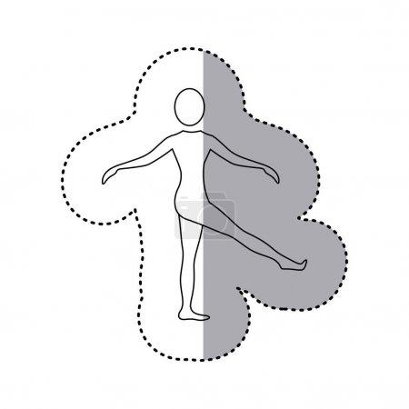 sticker silhouette woman standing stretching leg
