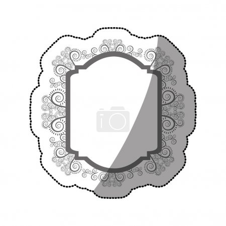 sticker gray scale curved rectangle heraldic baroque frame