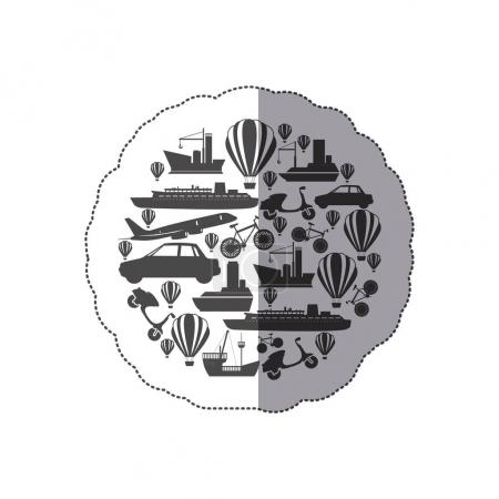 sticker monochrome circular pattern formed by means transport
