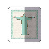 sticker frame with silhouette of christ redeemer with background dotted