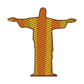 color silhouette of christ redeemer with background striped