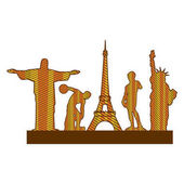 color silhouette of set of the world landmark icons