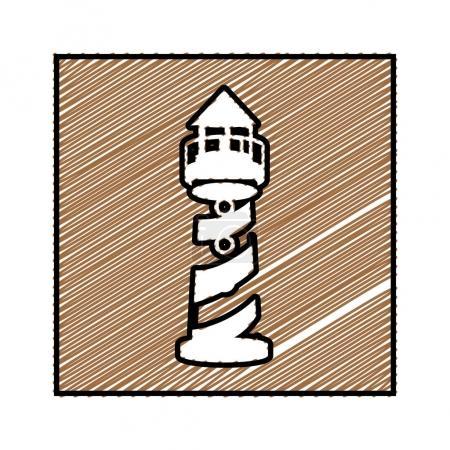 Illustration pour Dessin au crayon couleur cadre carré avec tour de phare illustration vectorielle - image libre de droit
