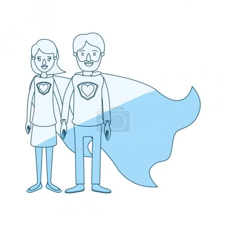 blue silhouette shading cartoon full body couple parents super hero with heart symbol in uniform