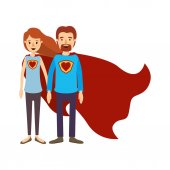 colorful image caricature full body couple super hero with heart symbol in uniform