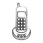 monochrome blurred silhouette of cordless phone