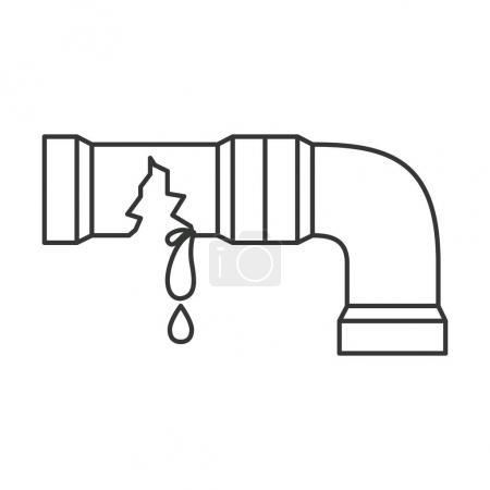Illustration pour Silhouette monochrome avec illustration vectorielle cassée de tuyau d'eau - image libre de droit