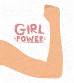 girl power poster with female raised right arm in skin color on back view and white background with sparkles