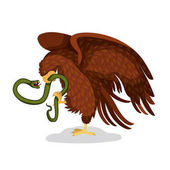mexican flag emblem of colorful silhouette of eagle with snake in peak over white background