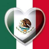 mexican flag colorful silhouette with 3D heart over emblem