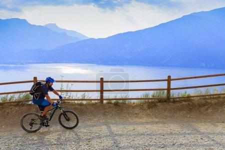 Mountain biking over Lake Garda