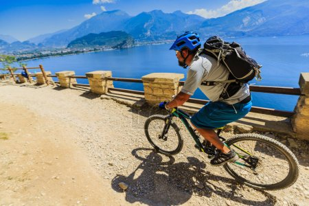 Mountain biking over Lake Garda