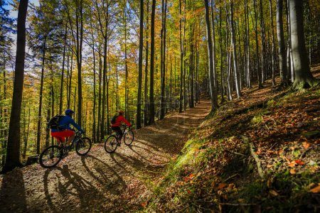 Cycling, mountain biker couple on cycle trail in autumn forest.