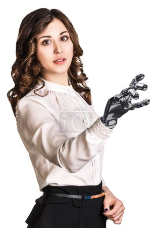 Photo for Young business woman with robot hand. Hand prosthesis concept. 3d rendering - Royalty Free Image