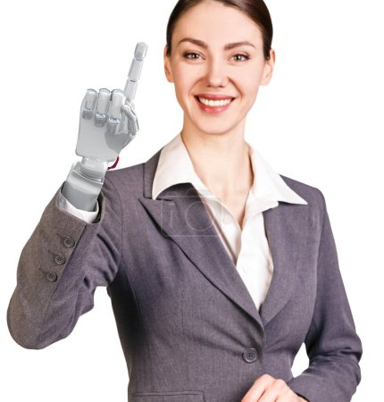 Photo for Smiling business woman with robot hand. Hand prosthesis concept. 3d rendering - Royalty Free Image