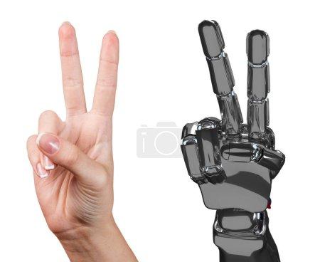 Photo pour Main humaine et robotique ensemble montre deux doigts. Concept de coopération. Rendu 3d . - image libre de droit