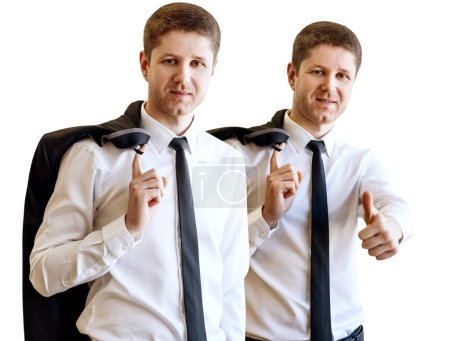 Photo for Collage of businessman holds jacket and shows thumbs up. Isolated on white background. - Royalty Free Image