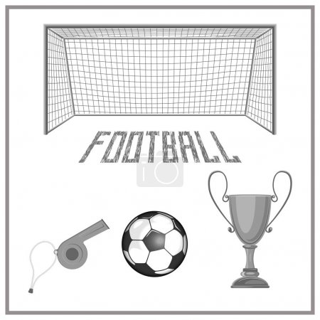 a set of accessories for playing football. there is a ball, a cup, a whistle and more.