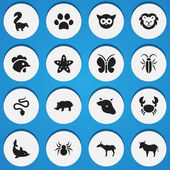 Set Of 16 Editable Animal Icons Includes Symbols Such As Gazelle Forepaw Sea Star And More Can Be Used For Web Mobile UI And Infographic Design