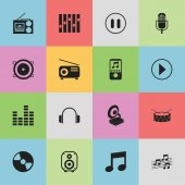 Set Of 16 Editable Audio Icons Includes Symbols Such As Equalizer Bar Wave Musical Sign And More Can Be Used For Web Mobile UI And Infographic Design