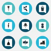 Set Of 9 Editable Farm Icons. Includes Symbols Such As Root Vegetable, Bucket, Pot Bush And More. Can Be Used For Web, Mobile, UI And Infographic Design.