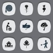 Set Of 9 Editable Garden Icons. Includes Symbols Such As Plant Spray, Ploughman, Flower And More. Can Be Used For Web, Mobile, UI And Infographic Design.