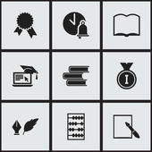 Set Of 9 Editable University Icons Includes Symbols Such As Victory Medallion Literature Library And More Can Be Used For Web Mobile UI And Infographic Design