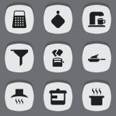 Set Of 9 Editable Cook Icons Includes Symbols Such As Kitchen Hood Slice Bread Soup Pot And More Can Be Used For Web Mobile UI And Infographic Design
