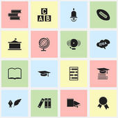 Set Of 16 Editable University Icons Includes Symbols Such As Arithmetic Victory Medallion Mind And More Can Be Used For Web Mobile UI And Infographic Design