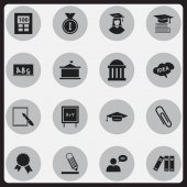 Set Of 16 Editable Graduation Icons Includes Symbols Such As Staple Victory Medallion Courtroom And More Can Be Used For Web Mobile UI And Infographic Design