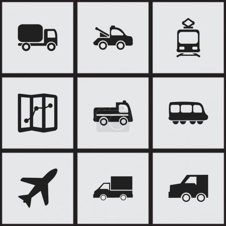 Set Of 9 Editable Transportation Icons. Includes Symbols Such As Service Car, Camion, Auto And More. Can Be Used For Web, Mobile, UI And Infographic Design.