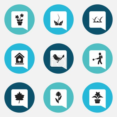 Set Of 9 Editable Agriculture Icons. Includes Symbols Such As Sparrow, Birdhouse, Lawn And More. Can Be Used For Web, Mobile, UI And Infographic Design.