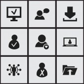 Set Of 9 Editable Network Icons Includes Symbols Such As Access Allowed Computer Blocked Person And More