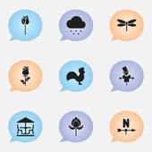 Set Of 9 Editable Gardening Icons. Includes Symbols Such As Rose, Breeze Direction, Ranunculus And More. Can Be Used For Web, Mobile, UI And Infographic Design.