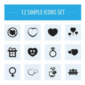 Set Of 12 Editable Heart Icons Includes Symbols Such As Like Gift Happy And More