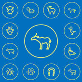 Set Of 12 Editable Zoology Outline Icons Includes Symbols Such As Antelope Canine Dolphin And More