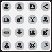 Set Of 16 Editable Global Icons Includes Symbols Such As Thinking Man Line Chart Mail Symbol And More Can Be Used For Web Mobile UI And Infographic Design