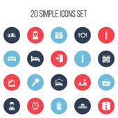 Set Of 20 Editable Motel Icons Includes Symbols Such As Townhouse Outlet Opened Placard And More