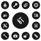 Set Of 13 Editable Mechanic Icons Includes Symbols Such As Maintenance Cogwheels Handle Hit
