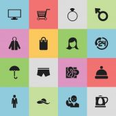 Set Of 16 Editable Business Icons Includes Symbols Such As Swimming Trunks Monitor Lady Aspect And More Can Be Used For Web Mobile UI And Infographic Design