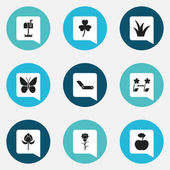 Set Of 9 Editable Gardening Icons. Includes Symbols Such As Breeding, Tulip, Trefoil And More. Can Be Used For Web, Mobile, UI And Infographic Design.