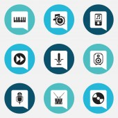 Set Of 9 Editable Multimedia Icons Includes Symbols Such As Disc Microphone Octave And More Can Be Used For Web Mobile UI And Infographic Design
