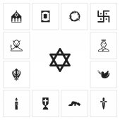 Set of 13 editable dyne icons Includes symbols such as synagogue dagger devil and more Can be used for web mobile UI and infographic design
