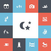 Set of 13 editable kin icons Includes symbols such as perambulator night hostel and more Can be used for web mobile UI and infographic design