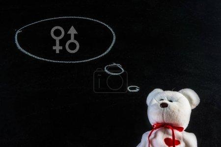 The dream of a teddy bear . Teddy bear with home sex symbol